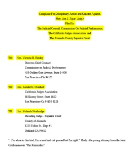 11th Complaint to Judicial Council, Superior Court, Judges Association against Tigar