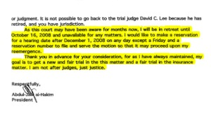 al-Hakim letter to Northridge for resveration number to file motion