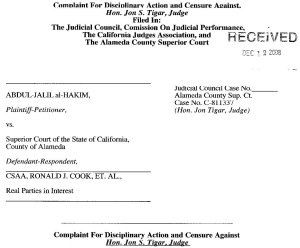 2nd Complaint Filed with Judicial Council and Superior Court against Tigar