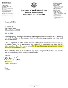 Congresswoman Lee's Letter Referring USAG Bradley Scholzman to al-Hakim
